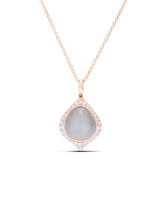 Grey Moonstone and Diamond Rose Gold Pendant - Charles Koll Jewellers