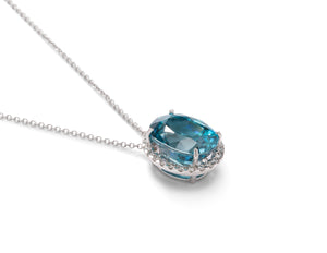 Blue Zircon and Diamond Pendant - Charles Koll Jewellers