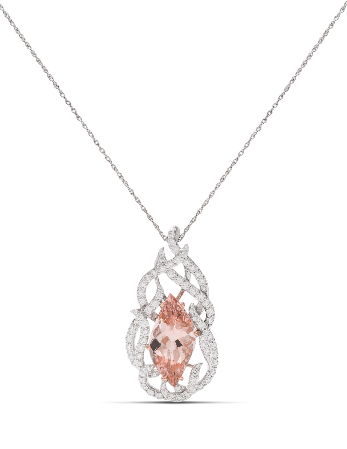 Morganite and Diamond Flame Pendant - Charles Koll Jewellers