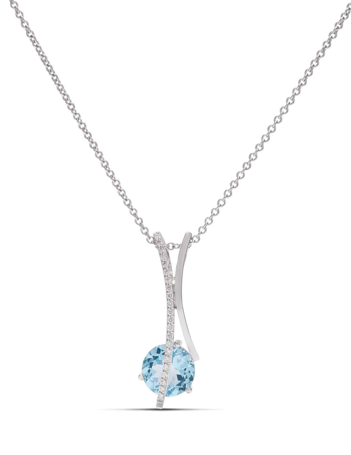 Blue Topaz and Diamond Pendant - Charles Koll Jewellers