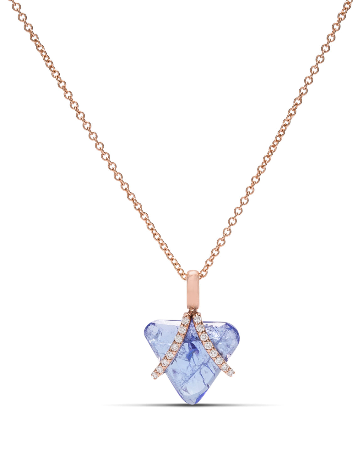 18k Rose Gold Tanzanite and Diamond Pendant - Charles Koll Jewellers
