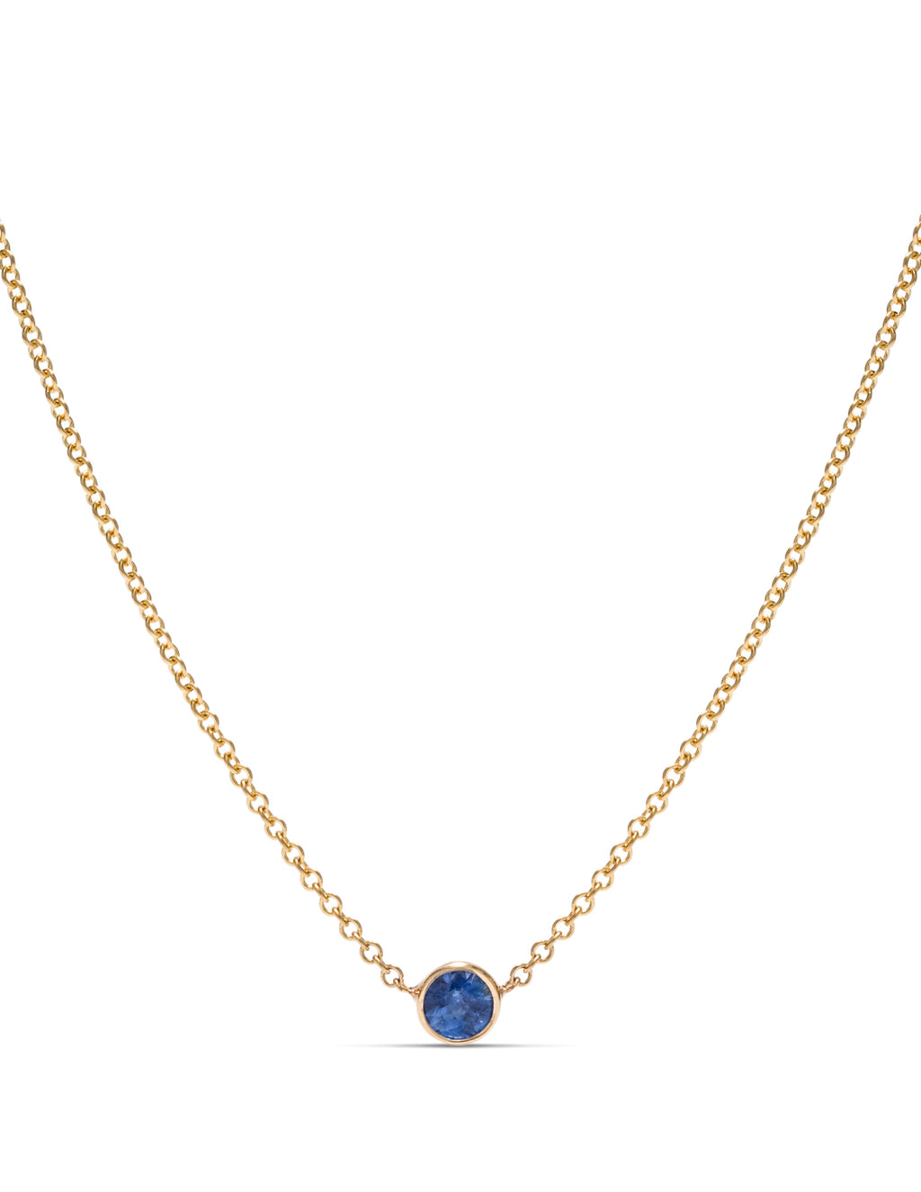 Delicate Bezel Sapphire Necklace - Charles Koll Jewellers