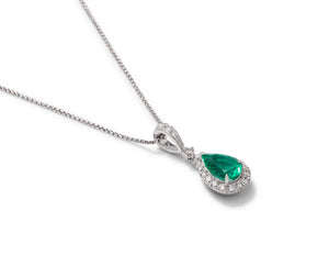 Pear Shaped Emerald and Diamond Pendant - Charles Koll Jewellers