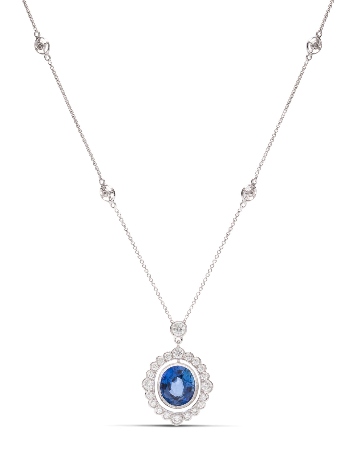 Oval Sapphire and Diamond Necklace - Charles Koll Jewellers