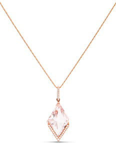 Morganite and Diamond Point Pendant - Charles Koll Jewellers