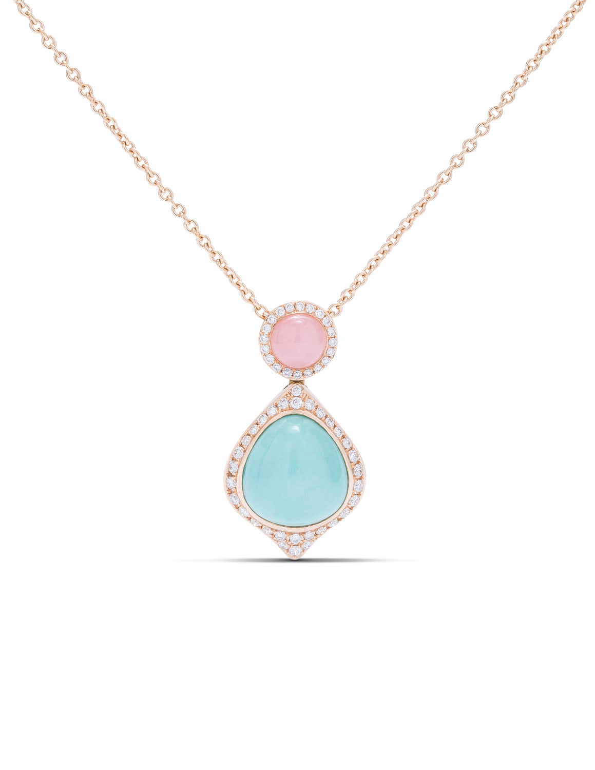Turquoise and Pink Opal Pendant - Charles Koll Jewellers
