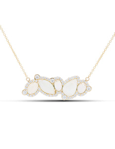 Opal and Diamond East/West Necklace - Charles Koll Jewellers