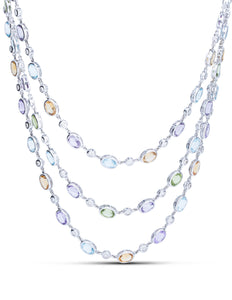 Three Row Gemstone and Diamond Necklace - Charles Koll Jewellers