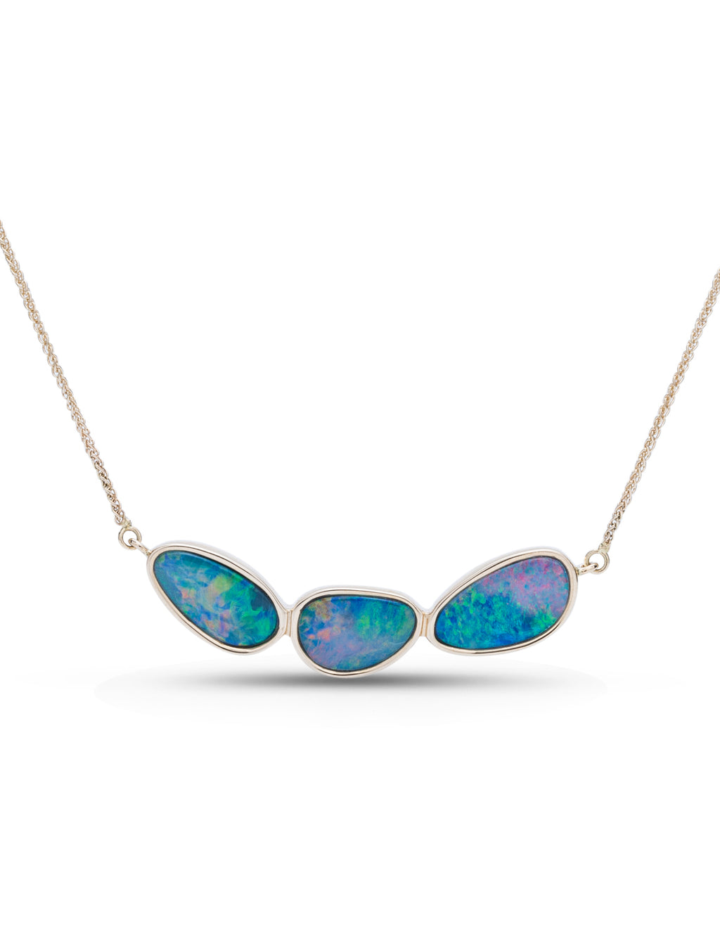 3 Bezel Set Australian Opal East/West Necklace