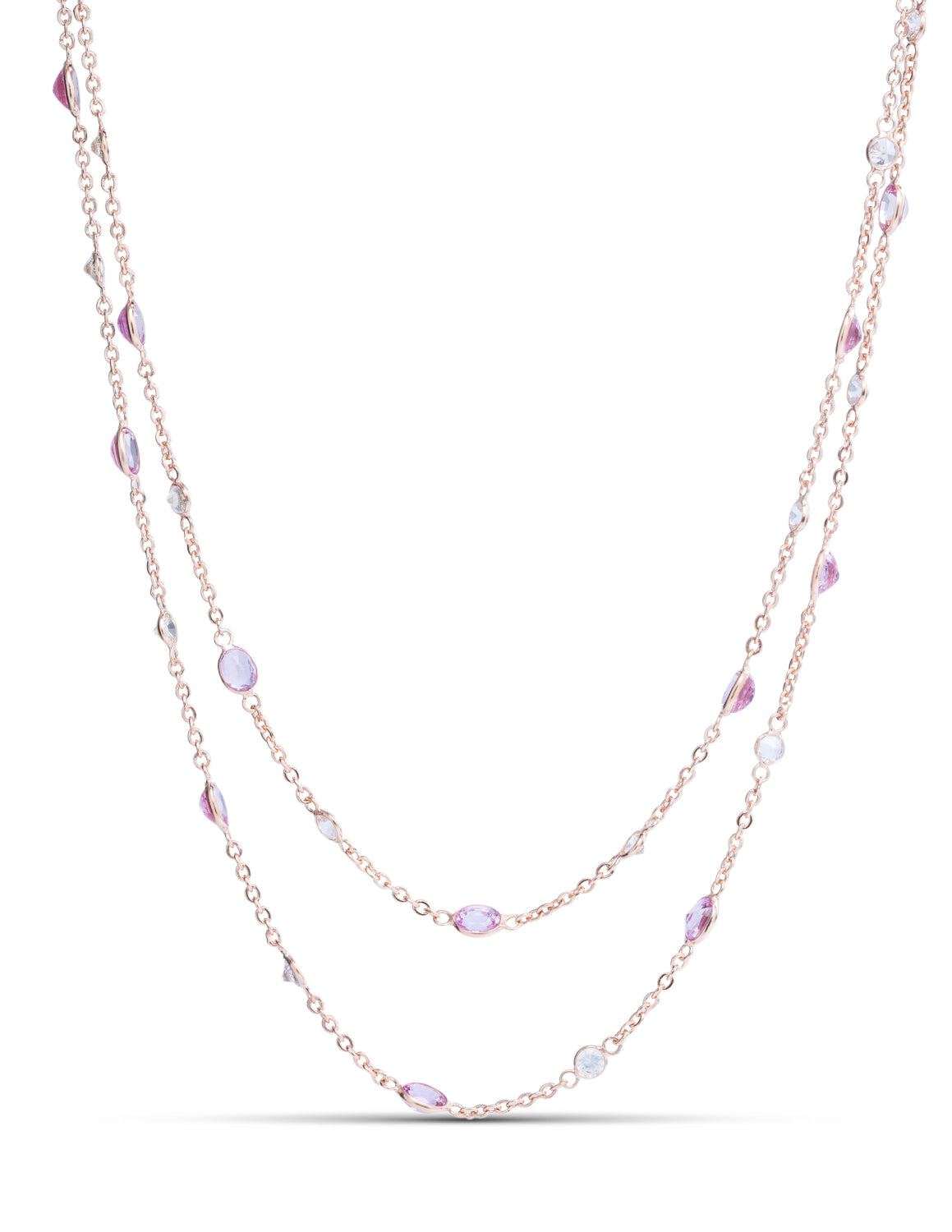 White and Pink Sapphire Rose Gold Necklace - Charles Koll Jewellers