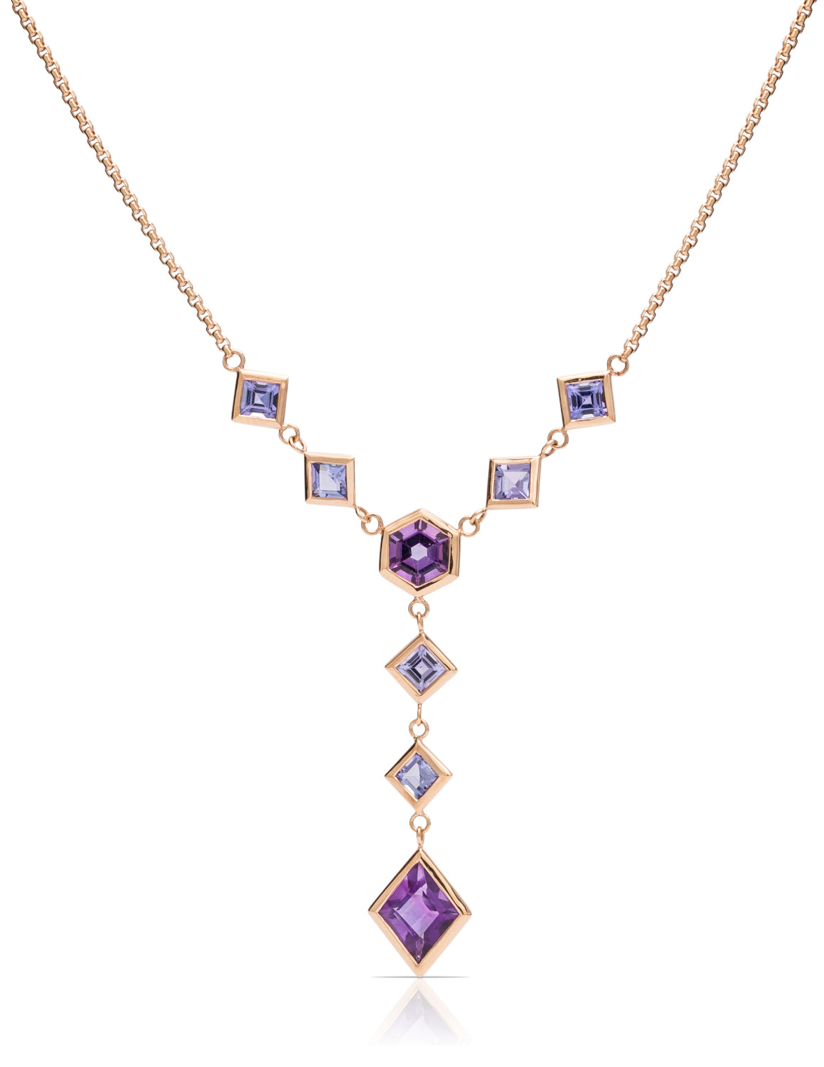 Amethyst and Tanzanite Custom Cut Necklace