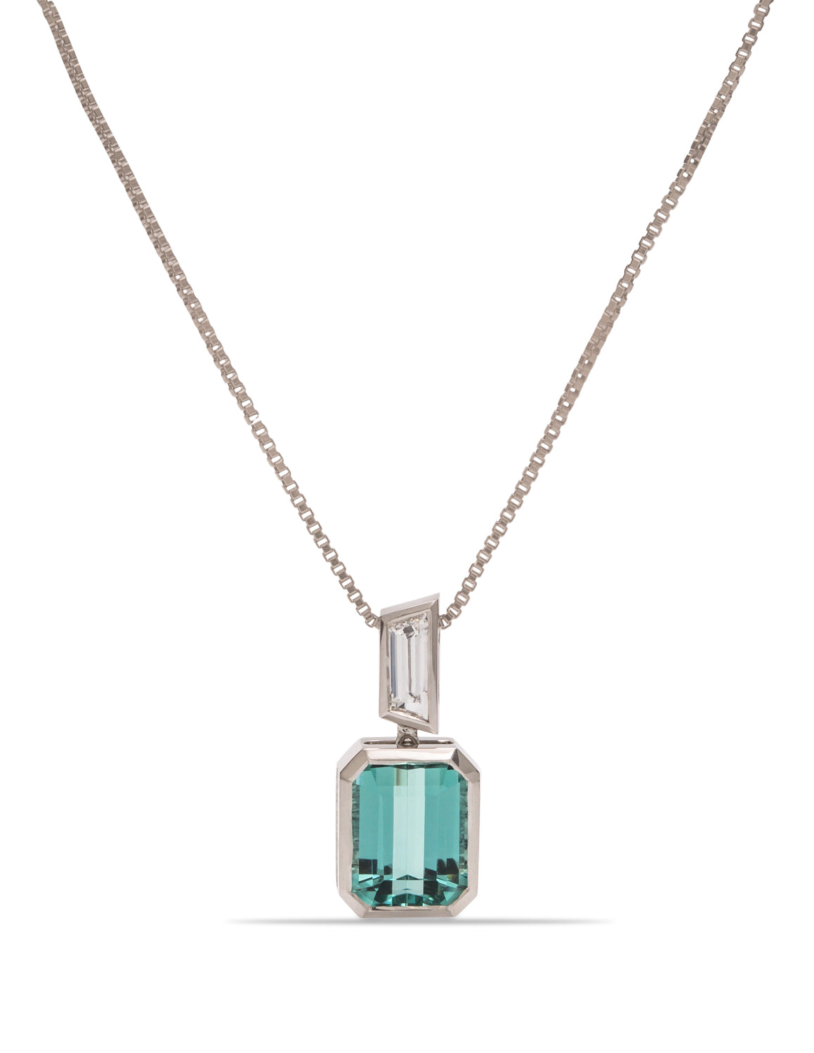 Tourmaline and Diamond Drop Pendent