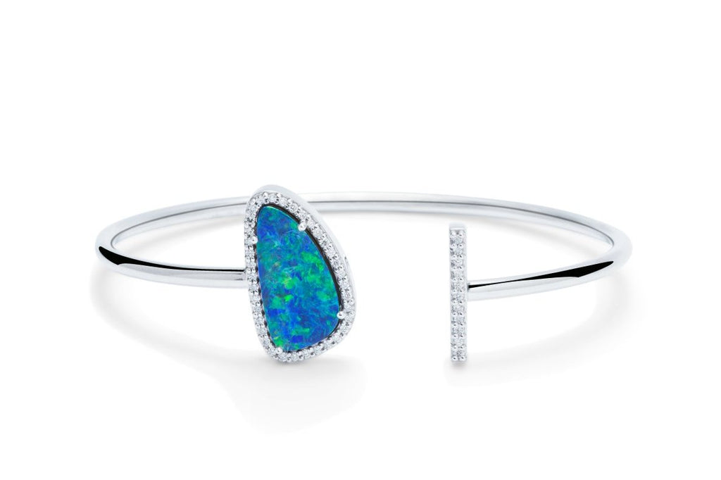 Australian Opal and Diamond Bangle - Charles Koll Jewellers