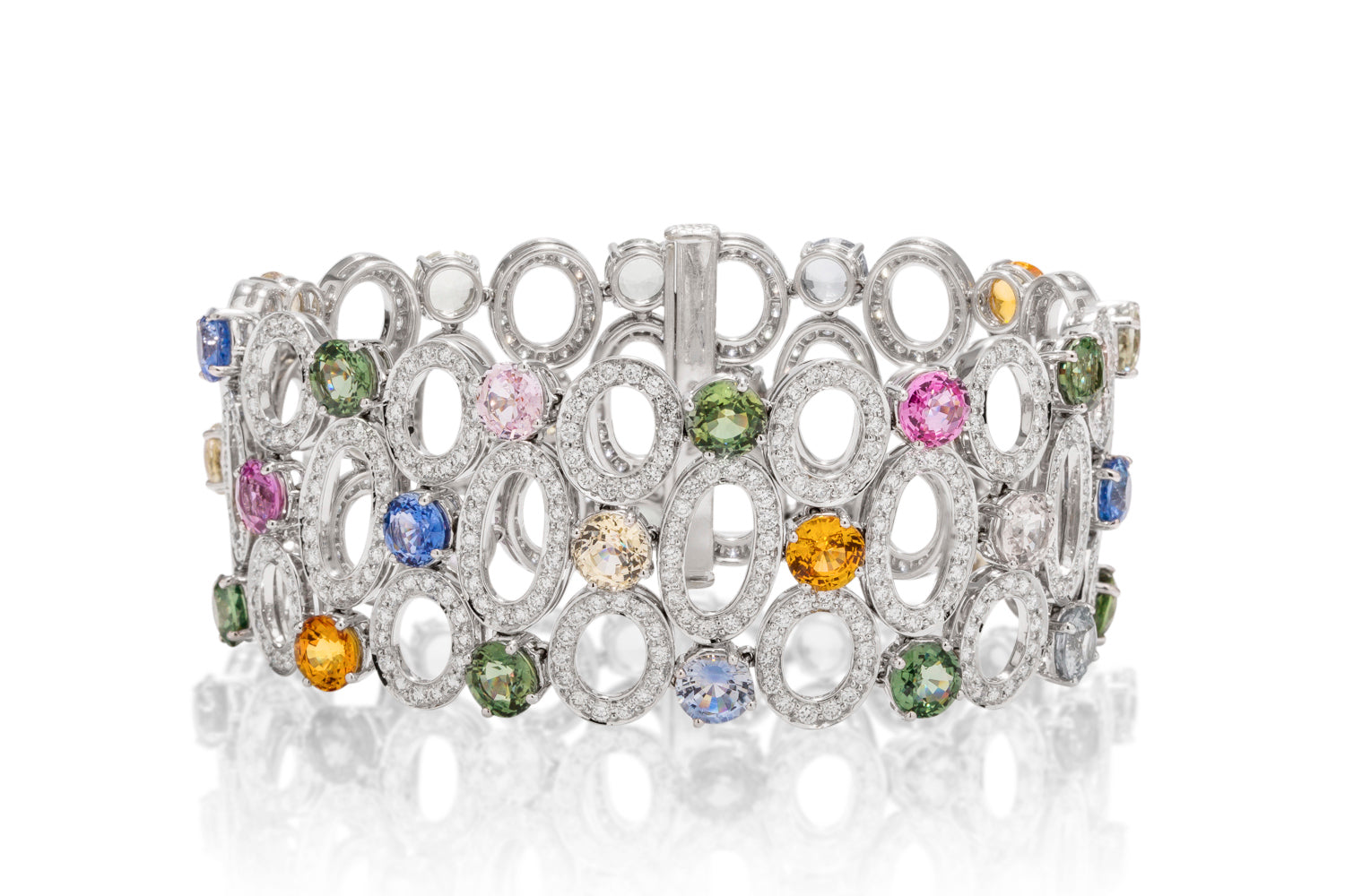 Multi-Color Sapphire and Diamond Bracelet - Charles Koll Jewellers