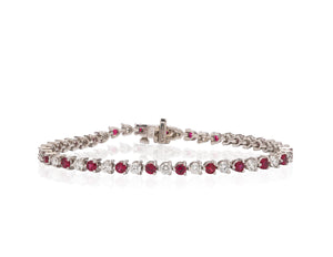 Platinum Diamond and Ruby Bracelet