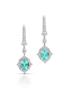 18k White Gold 3.24cttw Paraiba Toumaline & Diamond Earrings - Charles Koll Jewellers