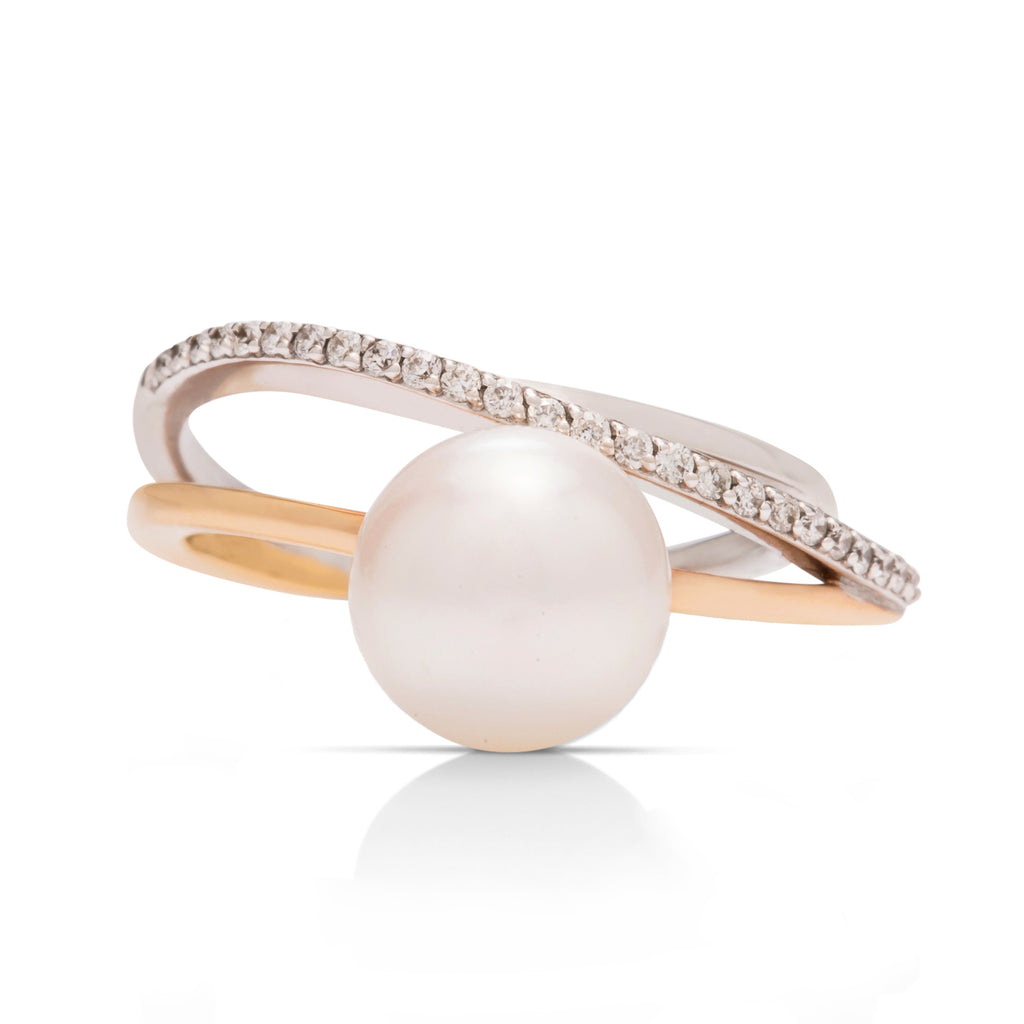 Two-Tone Pearl and Diamond Ring - Charles Koll Jewellers