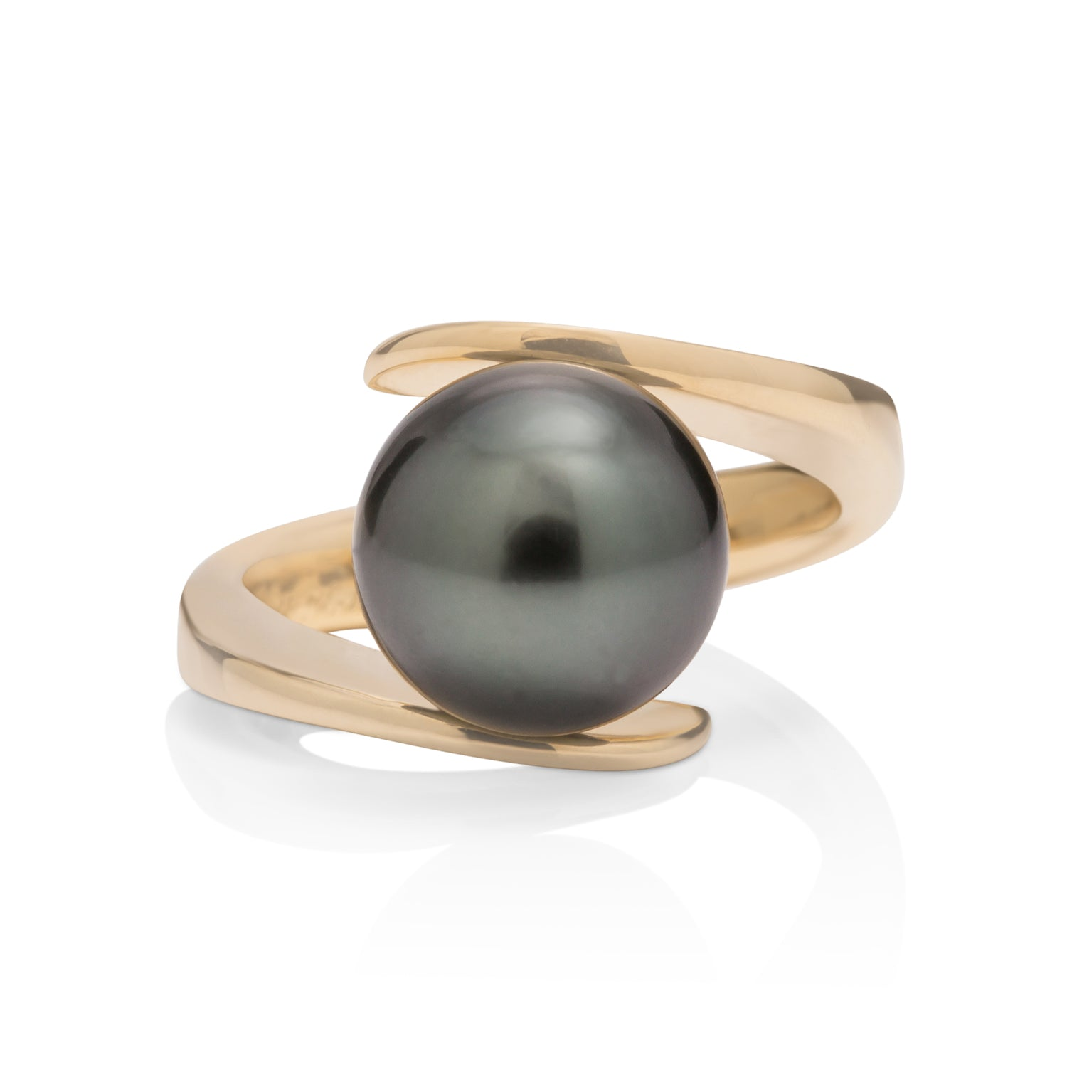 Tahitian Pearl Ring with 18K Swirl Band