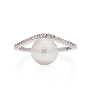Akoya Pearl and Diamond Ring