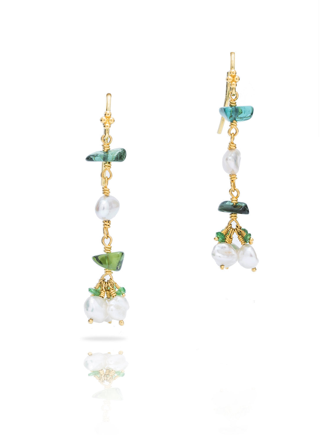 Tsavorite, Tourmaline and Pearl Dangle Earrings - Charles Koll Jewellers