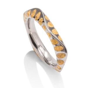 24K and Platinum Wave Band - Charles Koll Jewellers
