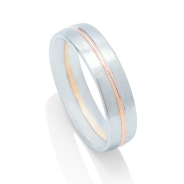 Platinum and Rose Gold Men's Band - Charles Koll Jewellers