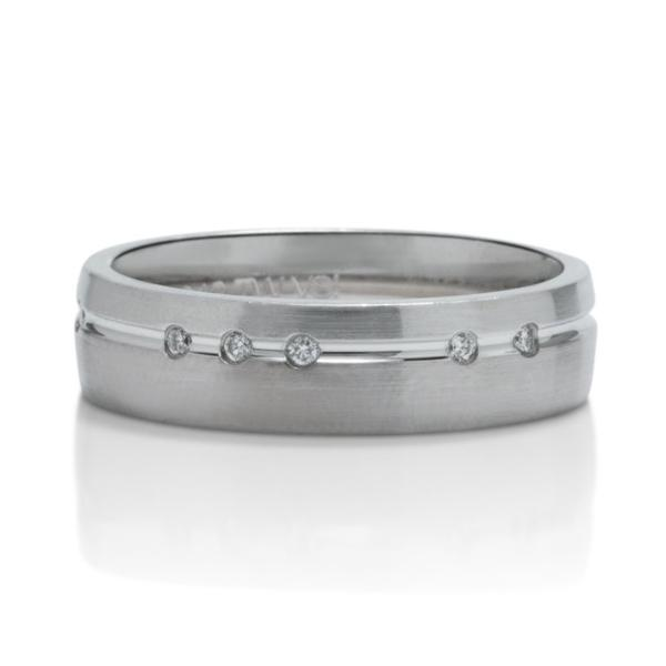 Platinum and White Gold Scattered Diamond Men's Band - Charles Koll Jewellers