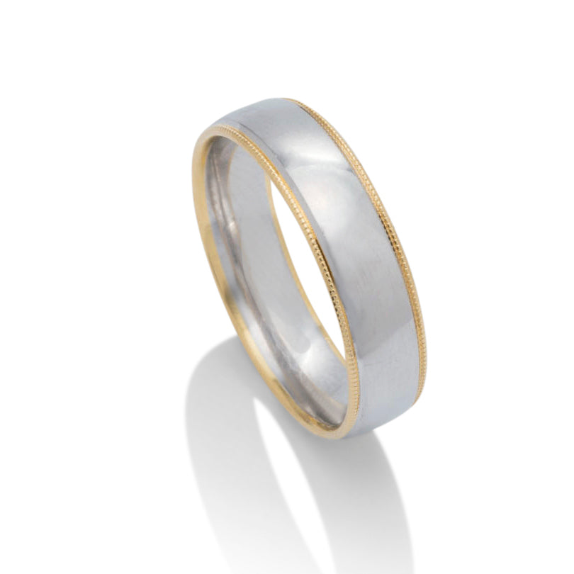 Platinum and Yellow Gold Milgrain Edge Men's Band - Charles Koll Jewellers