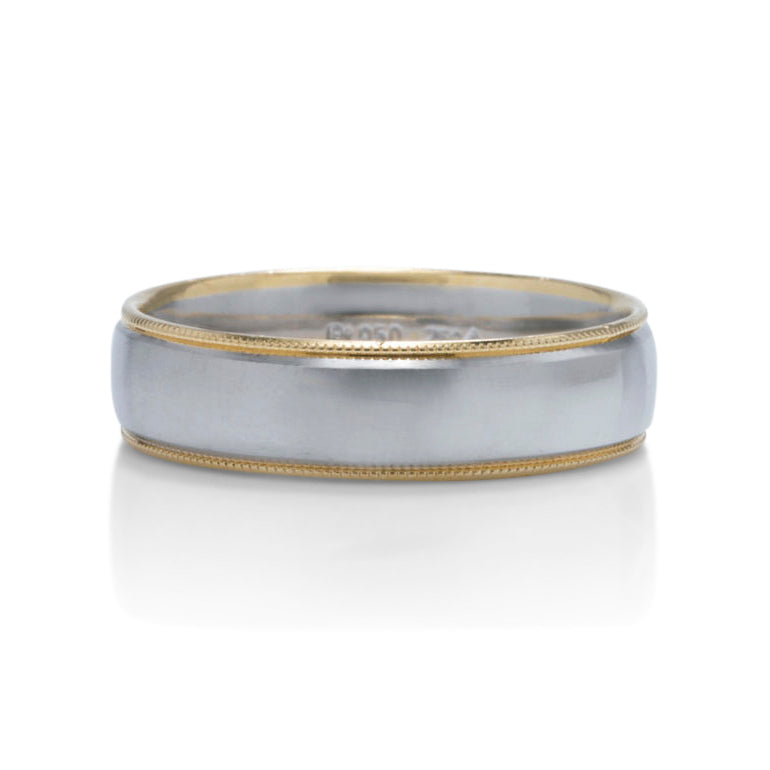 Platinum and Yellow Gold Milgrain Edge Men's Band