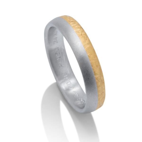 Two-Tone 24K Gold and Platinum Men's Band - Charles Koll Jewellers