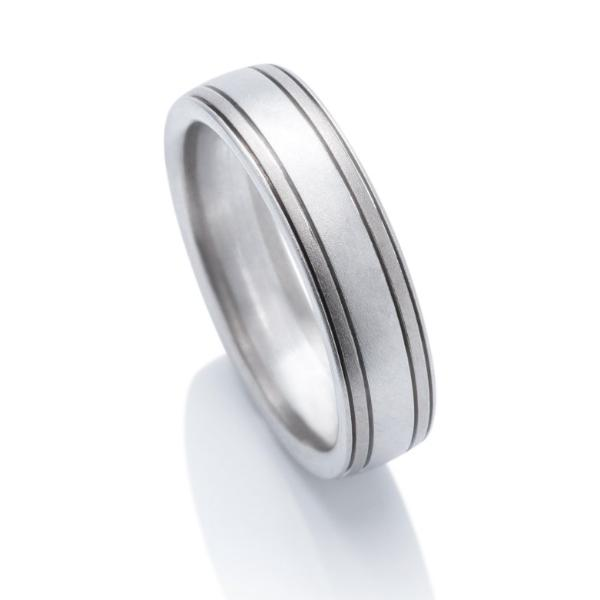Platinum and Grey Gold Grooved Men's Band - Charles Koll Jewellers