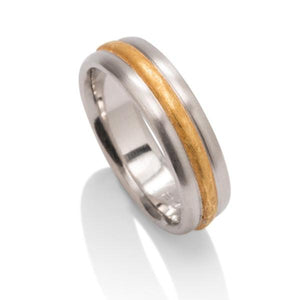 Platinum and 24K Gold Raised Center Band - Charles Koll Jewellers