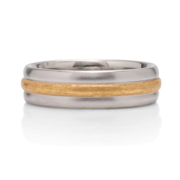 24K and Platinum Raised Center Band - Charles Koll Jewellers