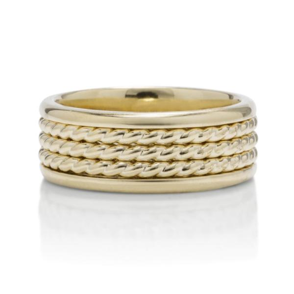 Yellow Gold 3 Row Rope Men's Band - Charles Koll Jewellers