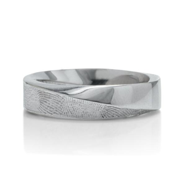 White Gold Fingerprint Signature Mobius Men's Band - Charles Koll Jewellers