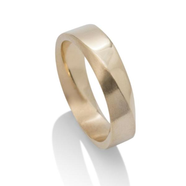 Yellow Gold Dual Finish Signature Mobius Men's Band - Charles Koll Jewellers