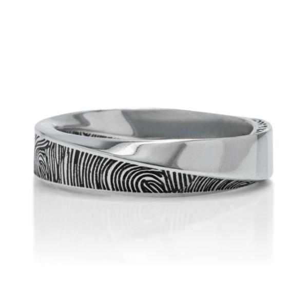 Black Rhodium Fingerprint Signature Mobius Men's Band - Charles Koll Jewellers