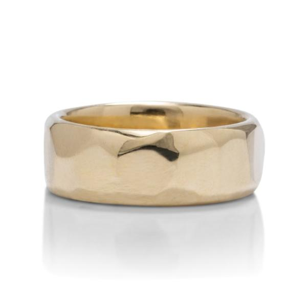 Yellow Gold Faceted Men's Band - Charles Koll Jewellers