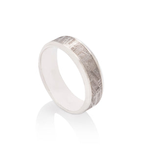 Platinum and Meteorite Men's Band - Charles Koll Jewellers