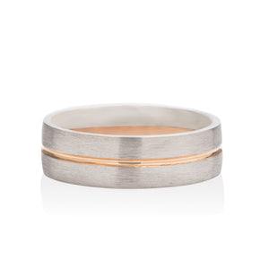 Platinum Men's Band with Gold Inlay - Charles Koll Jewellers