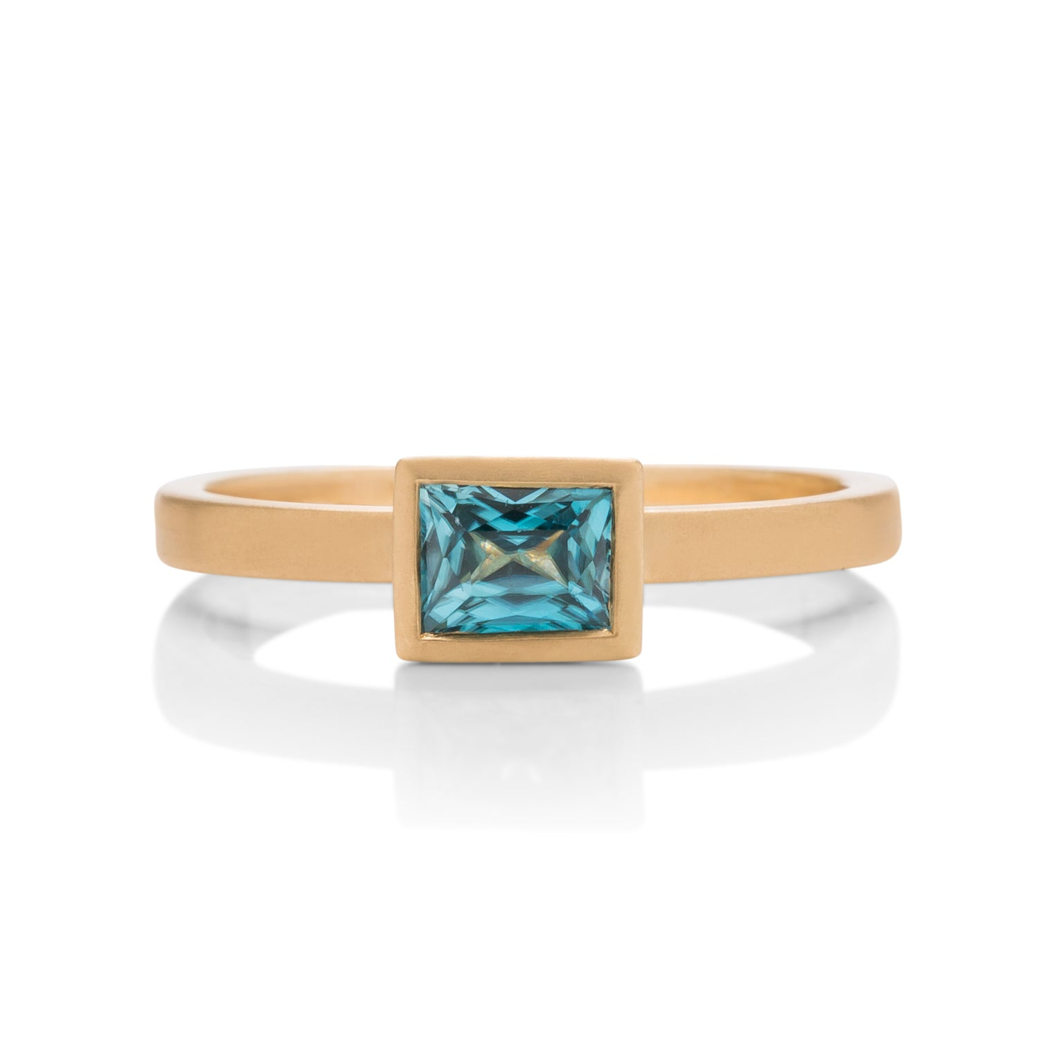 Emerald Cut Blue Zircon Yumdrop Ring - Charles Koll Jewellers