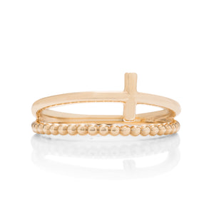 Double Band Cross Ring - Charles Koll Jewellers