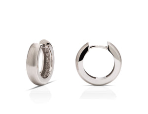 18K White Gold Mini Hoop Earrings - Charles Koll Jewellers