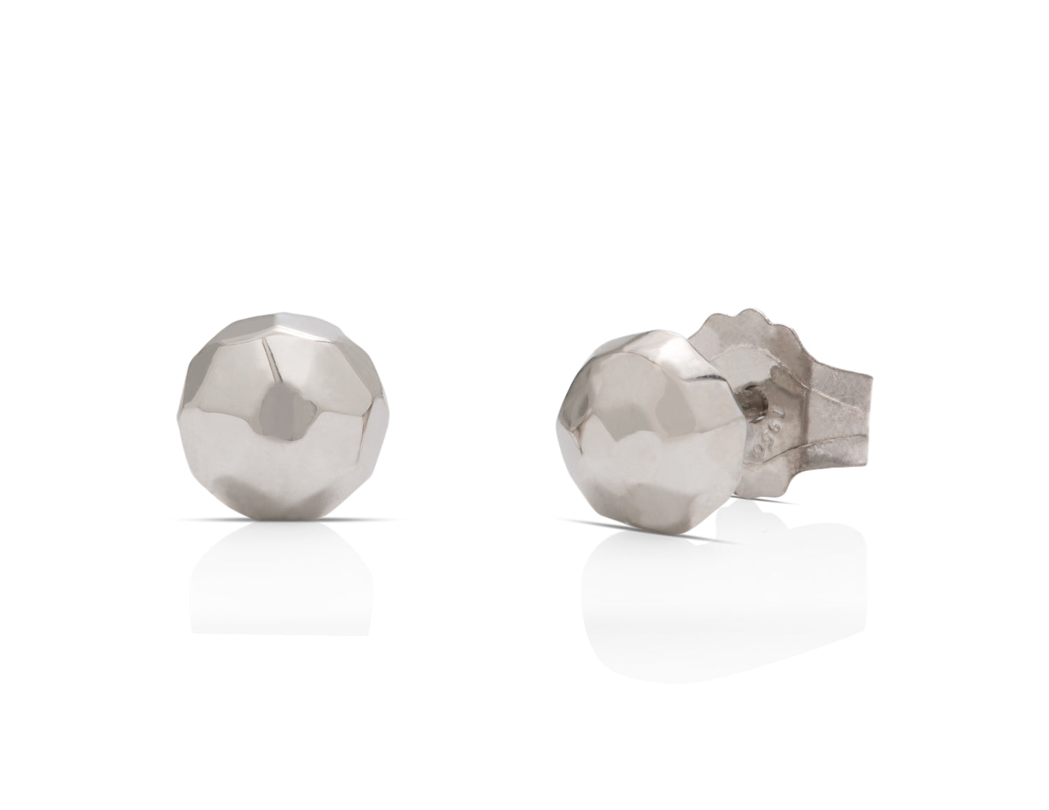 Platinum Faceted Ball Earrings - Charles Koll Jewellers
