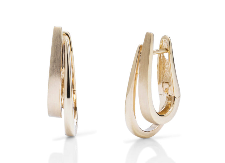 Yellow Gold Double Hoop Earring - Charles Koll Jewellers