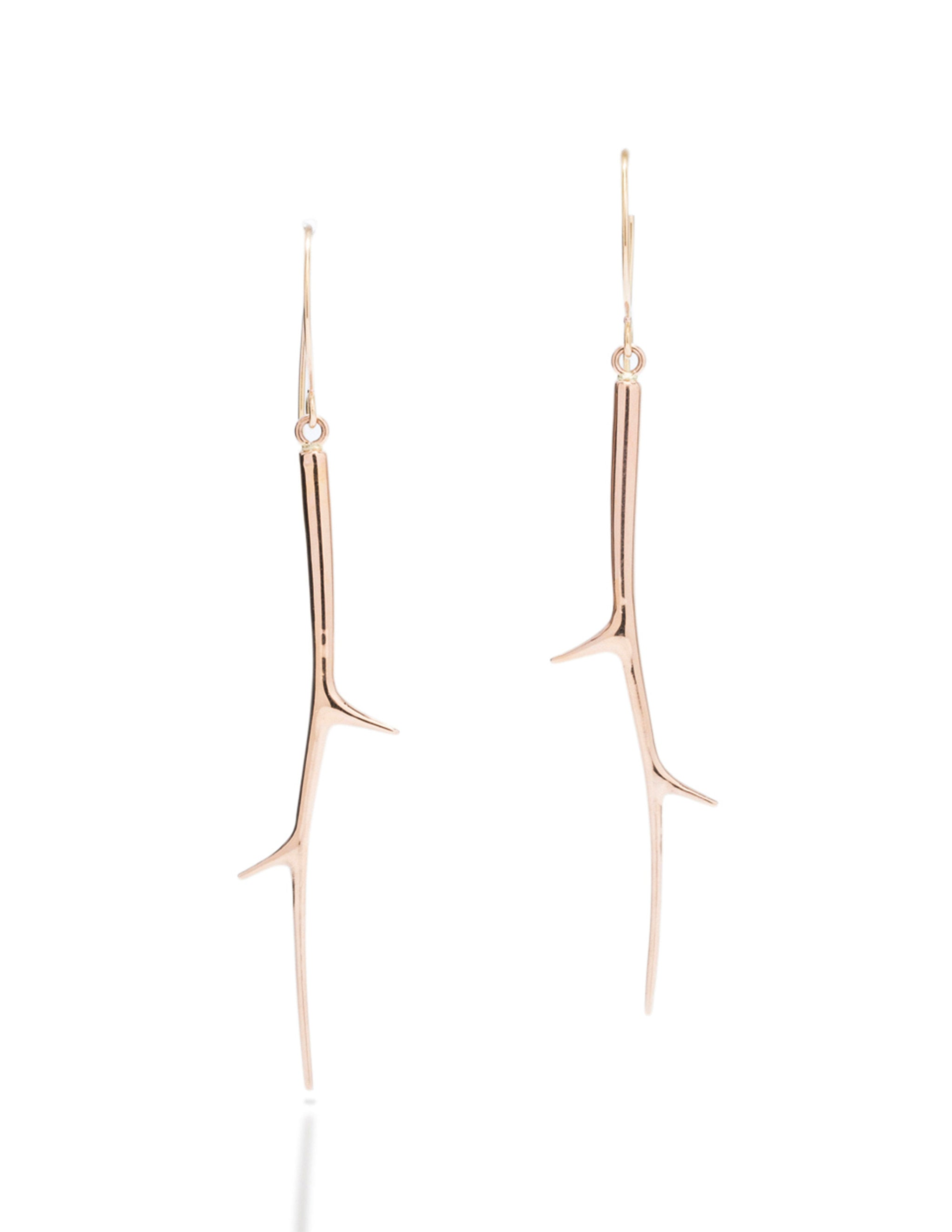 Rose Gold Polished Branch Drop Earrings - Charles Koll Jewellers