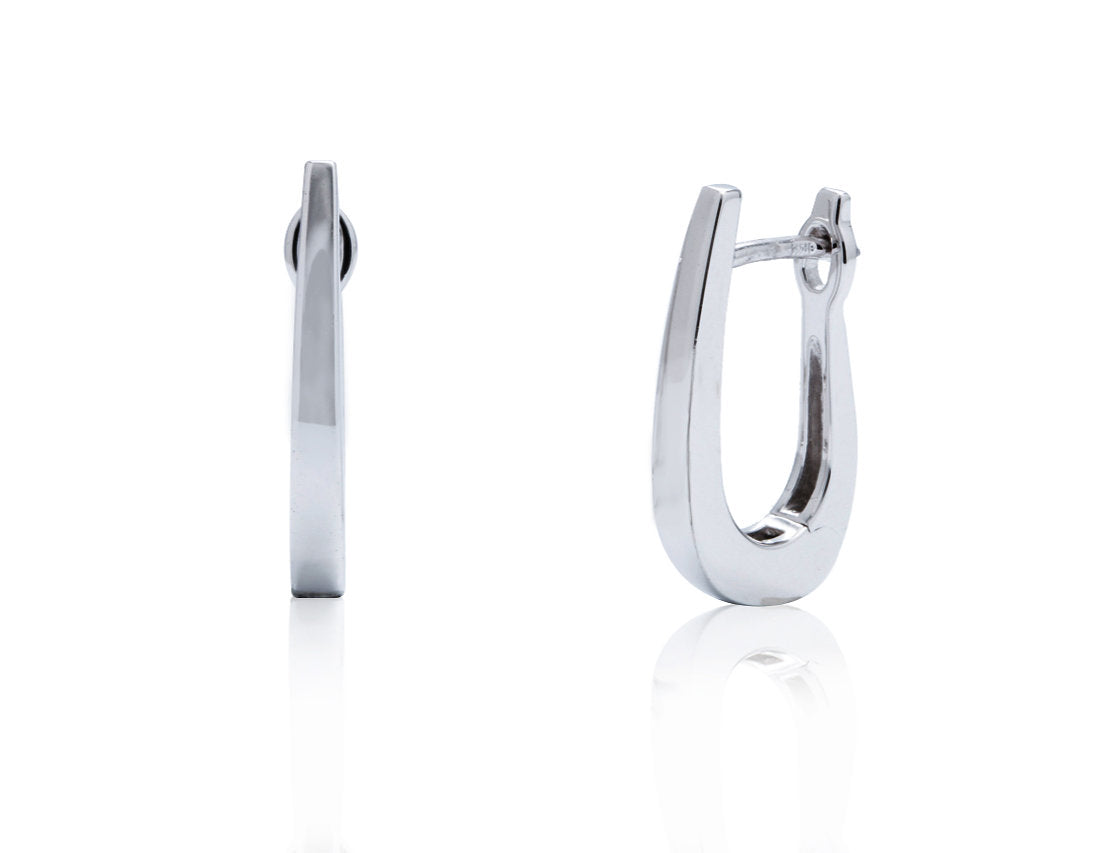 White Gold Tapered Hoop - Charles Koll Jewellers