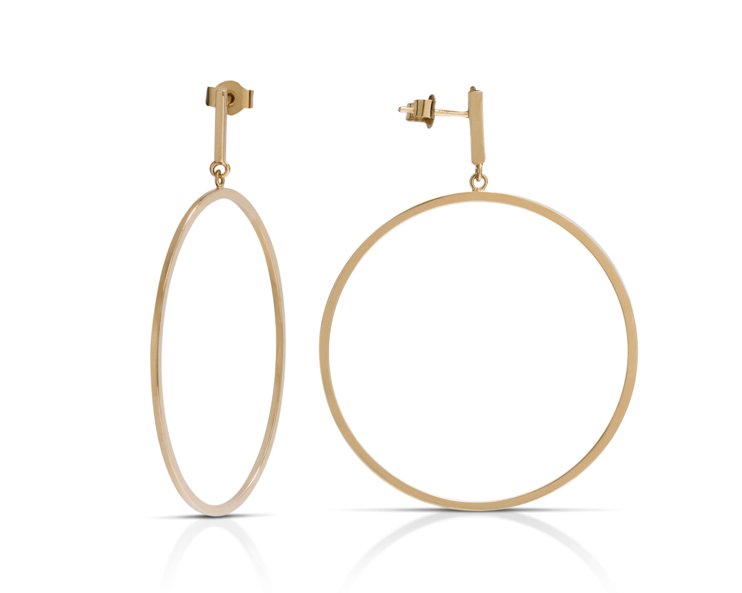Yellow Gold Dangle Hoops - Charles Koll Jewellers