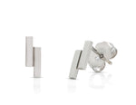 White Gold Rectangle Studs - Charles Koll Jewellers