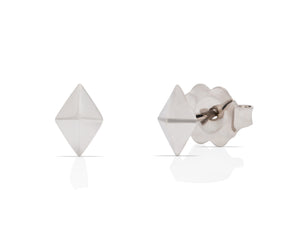 White Gold Diamond Shaped Studs - Charles Koll Jewellers